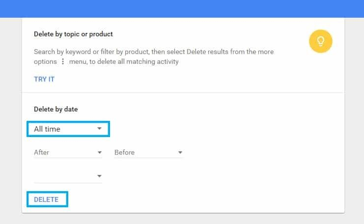 Search History - Delete Or View Google Activity